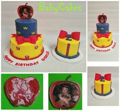 Snow White themed birthday cake with coordinating personal cake.