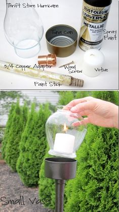 DIY OUTDOOR CANDLE LANTERN. You would never guess that this chic little candle lantern was made out of a tuna can! You can make a few variations using a hurricane, stemless wine glass, or small vase.