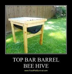 Top bar barrel bee hive similiar to the honey cow brought to you by FoodPlotSurvival.com