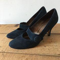 UK SIZE 5 WOMENS JOHN LEWIS BLUE SUEDE MARY JANE STILETTO HEELS BUTTON DETAIL #JohnLewis #MaryJanes #SmartWorkDressy