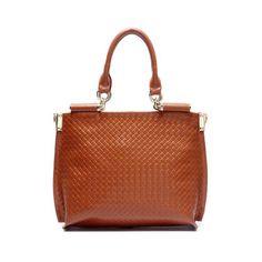 Fashion Large Leather Rhombus Hobo Brown $89
