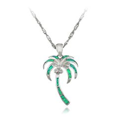 HAIMIS 2017 Hot Sale Pretty Xmas Gift Green Fire Opal Palm tree Coconut Tree Opal Pendants OP429 #Affiliate