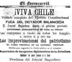 """¡Viva Chile!, Triunfo completo del Ejército Constitucional, Fuga del Dictador Balmaceda"" El Ferrocarril - 1891"
