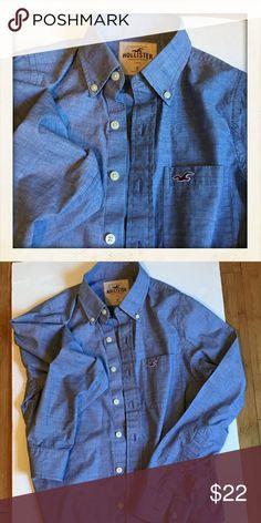 HOLLISTER BLUE BUTTON DOWN SHIRT EUC. -No trades Hollister Shirts Casual Button Down Shirts
