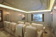 Luxury home theater at Close-in Memorial in Houston, Texas - United States