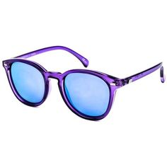 Le Specs Bandwagon LSP1502054 Sunglasses (69 AUD) ❤ liked on Polyvore featuring accessories, eyewear, sunglasses, ultraviolet purple, lens glasses, mirror glasses, mirror lens sunglasses, plastic sunglasses and purple mirrored sunglasses