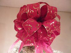 Large Christmas Tree topper red with shiny gold swirls by creativelycarole on Etsy