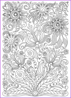 Coloring page PDF printable doodle flowers by ZentangleHouse