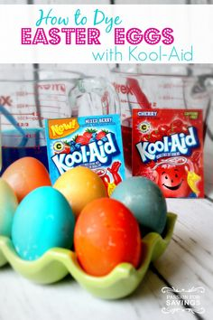 How to Dye Easter Eggs With Kool-Aid - This is a great activity for kids and I love that it doesn't have that Vinegar smell to it that traditional dye kits have.