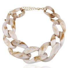 Chunky resin link collar necklace that every girl must have. Comes in an array of eye popping yummy color links. Collar Necklace, Grey And Gold, Necklace Lengths, Bangles, Bracelets, Jewelry Accessories, Chokers, Fashion Jewelry, Earrings