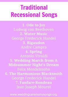 Recessional Songs Wedding SongsWedding MusicWedding Ceremony