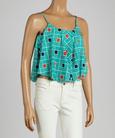 Another great find on #zulily! Aqua & Red Geometric Tank Top by Hadari #zulilyfinds