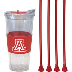 22oz NCAA Arizona Wildcats Straw Tumbler with 4 Colored Replacement Propeller Straws