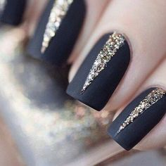 Royal black with glitter nails: