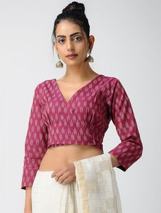 Buy Pink Ivory Cotton Ikat Blouse with Buttons by Jaypore The Label Wardrobe blouses kurtas an. Kalamkari Blouse Designs, Cotton Saree Blouse Designs, Best Blouse Designs, Kurti Neck Designs, Dress Designs, Designer Blouse Patterns, Design Patterns, Stylish Blouse Design, Indian Wear