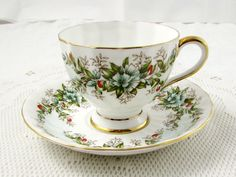 Vintage Tuscan Tea Cup and Saucer, Fine English Bone China, Gold Trim and Flowers