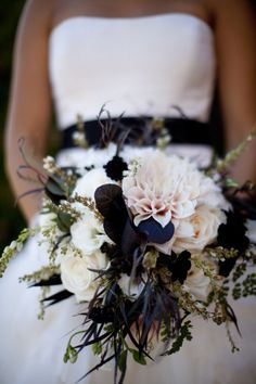 Romantic California Estate Wedding at Kohl Mansion Navy Bouquet, Bride Bouquets, Feather Bouquet, Dahlia Bouquet, Bridesmaid Bouquets, Floral Wedding, Wedding Colors, Navy Wedding Flowers, Navy Flowers