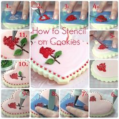 Stencilling on Cookies.this site also has a great tutorial on flooding cookies Cupcakes, Cupcake Cookies, Heart Cookies, Flower Cookies, Cookie Bouquet, Cookie Favors, Easter Cookies, Fancy Cookies, Iced Cookies