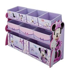 Add some style to their room with this Disney Minnie Mouse Deluxe 9 Bin Toy Organizer from Delta Children! Built to withstand whatever kids throw its way, this storage piece features nine (9) uniquely sized fabric bins supported by a sturdy frame. Finished with colorful graphics of Minnie and her BFF Daisy Duck, it will bring a smile to your little one's face each time they clean up. Recommended for ages 3 and above.<br><br>The Disney Minnie Mouse Deluxe 9 Bin Toy Organizer Fe...