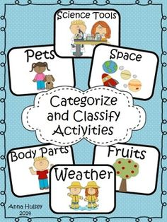 The perfect way to practice categorizing and classifying in your classroom! There are several hands-on activities that encourage critical thinking. Perfect for centers or small group work.