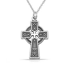 Sterling Silver Celtic Trinity Cross Necklace Chain 18in