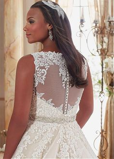 Buy discount Graceful Tulle V-neck Neckline Ball Gown Plus Size Wedding Dresses With Lace Appliques at Laurenbridal.com