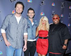 'The Voice' Judges - Blake Shelton, Adam Levine, Christina Aguilera, and Cee-Lo Green Christina Aguilera The Voice, The Voice Nbc, Miranda Lambert, Blake Shelton, American Idol, Favorite Tv Shows, Favorite Things, Celebrity Pictures, Movie Tv