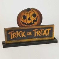 Halloween trick or treat  with jack o lantern table top sign