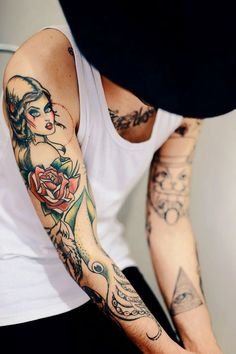 Men Hand with Tattoos of Pinup Girls, Pin Up Girls Tattoos for Men Hand, Beautiful PinUp Girl tattoo for Men