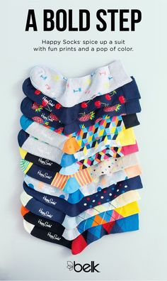 """He'll love taking a bold step and adding the fun prints and bright colors of Happy Socks® to his wardrobe. They're a funky accompaniment to an Easter ensemble and add a little """"after 5"""" to his 9-to-5 suits. Get happy feet and shop Happy Socks® in stores or at belk.com."""