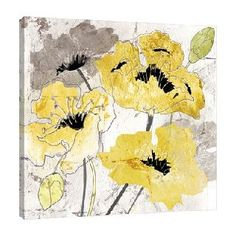 'Poppies II' by Tre Sorelle Studios Watercolour Painting Print on Wrapped Canvas in Yellow and Silver Jaxson Rea Size: H x W Yellow Painting, Watercolour Painting, Watercolor Flowers, Painting Prints, Watercolours, Canvas Art, Canvas Prints, Canvas Size, Box Art