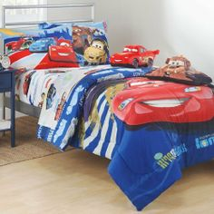 """Disney Pixar Cars Full Microfiber Sheet Set by Jay Franco & Sons. $41.99. Fiber Content: 100% Polyester. For ages 3 and up.. (1) Flat Sheet: 81"""" x 96"""" finished size. (1) Fitted Sheet: 54"""" x 75"""" finished size. (2) Standard Pillow Case. Time for a pit stop! Put your little racer to bed under this Cars 2 """"Track Burning Action"""" Full Microfiber Sheet Set. Lightening McQueen and his pals are sure to help your child get a good nights sleep."""