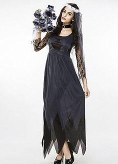 Damen Zombie Hexe Vampir Geisterbraut Gespenster Kleider Halloween Kostüm Mode