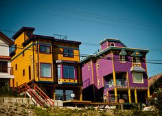 Brightly colored homes on Silver Star Mountain, British Columbia.
