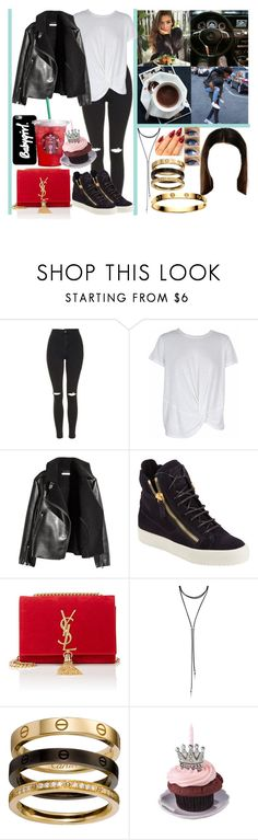 """surprise my best friend for her birthday 🎂"" by momochen95 ❤ liked on Polyvore featuring Topshop, MINKPINK, H&M, Giuseppe Zanotti, Yves Saint Laurent, Forever 21 and Cartier"