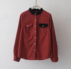 Plum blossom printing Turn-down collar long sleeve cotton shirt female blouse mori girl