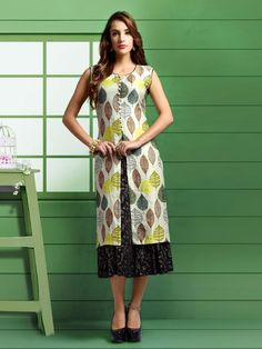 Shop Black beige party wear printed women cotton kurti online from G3fashion India. Brand - G3, Product code - G3-WKU2834, Price - 2995, Color - Beige, Black, Fabric - Cotton,