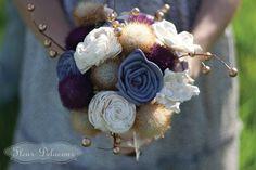 Wedding Bouquet - Purple Balsa Wood & Sola Wood Flowers, Customizable