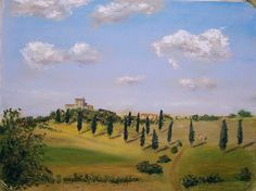 A Landscape in Tuscany with Villa by Jose Carrilho Pastel ~ x Tuscany Landscape, Landscape Art, Landscape Paintings, Random Web, List Of Artists, Beautiful Landscapes, Worlds Largest, Illustrators, Villa