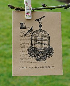 Vintage Bird Cage Seed Packet Wedding Favour