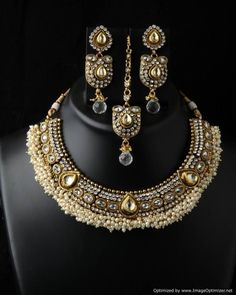 Indian Bollywood Fashion Jewelry Polki Traditional Necklace and Earrings Set #VGjewel