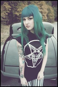 Green Hair Long with Bangs fashion tattoos hair green fad dye trend long bangs