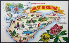 West Virgina State Map Postcard Charleston Colorful Kitsch