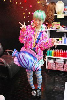 kawaii cute japan japanese dyed hair teal aqua girl fairy kei spank fashion decora fish harajuku