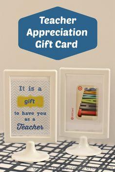 Teacher Appreciation Printable and Gift Card Idea