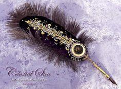 Zodiac CELESTIAL SUN Astrologers Feather Quill Dip Pen - Calligraphy