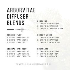 Diffuser Blends using Arborvitae Essential Oil