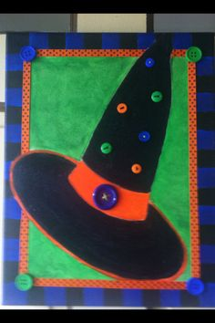 """Witch hat on canvas, Halloween decor, decor, halloween decoration, ribbon and button accents,hand painted collage, 14"""" x 11"""" by YesterYearLane on Etsy"""