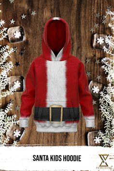 Grab this Santa Kids Hoodie today! Limited time only! Fleece Fabric, Kangaroo, Kids Outfits, Kids Fashion, Santa, Hoodies, Sleeves, Collection, Baby Bjorn