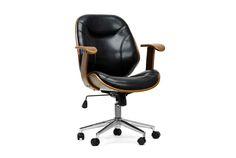 Baxton Studio Rathburn Walnut and Black Modern Office Chair | Interior Express